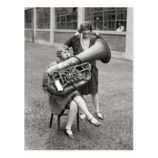 Girl Playing Tuba, 1928 Postcard