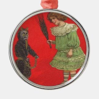 Girl Playing With Krampus Doll Silver-Colored Round Decoration