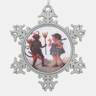Girl Playing With Krampus Snowflake Pewter Christmas Ornament