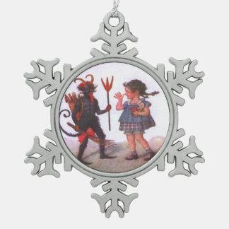 Girl Playing With Krampus Pewter Snowflake Decoration