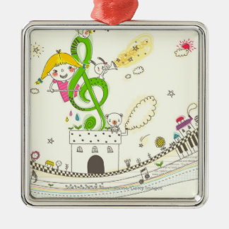 Girl playing with musical notes on house christmas ornament
