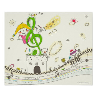 Girl playing with musical notes on house poster