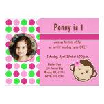 Girl Polka Dot Monkey Invite