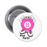 Girl Pool Partier Pinback Buttons