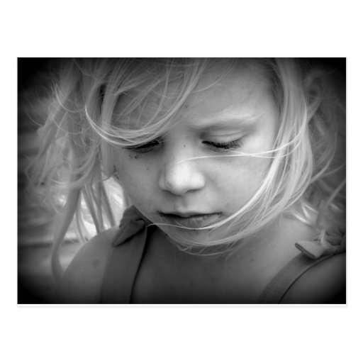 Girl Portrait Black And White Face Post Cards