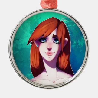 Girl Portrait Silver-Colored Round Decoration