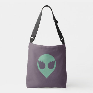 Girl Power Alien Head Tote Bag with Tiled Back