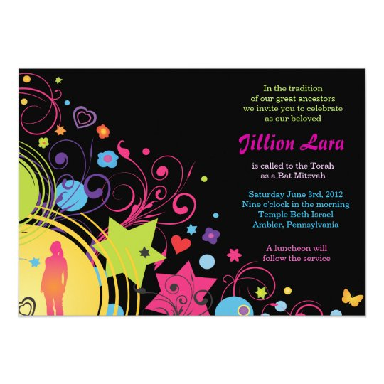 GIRL POWER Bright Bat Mitzvah Invitation