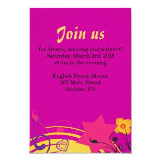 Girl Power Bright Bat Mitzvah Reception Party Card 9 Cm X 13 Cm Invitation Card