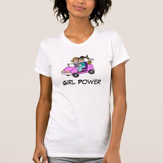Girl Power Cartoon  Women Golfer TShirt