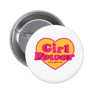 Girl Power Heart Shaped Typographic Design Quote 6 Cm Round Badge