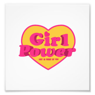 Girl Power Heart Shaped Typographic Design Quote Photo