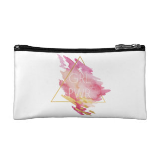 Girl Power in Pink & Gold - Abstract Watercolor Makeup Bag