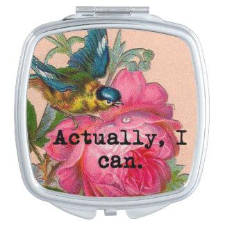 Girl power vintage bird pink roses compact travel mirror