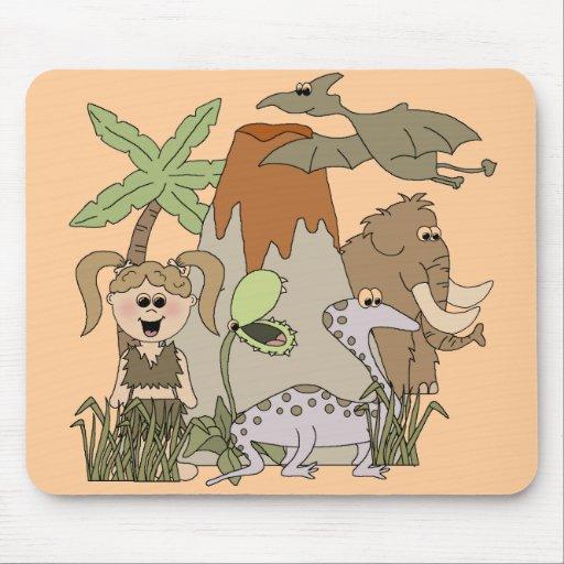 Girl Prehistoric Life Mouse Pads