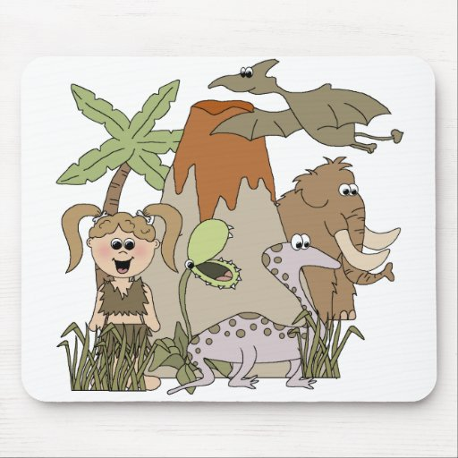 Girl Prehistoric Life T-shirts and Gifts Mouse Pads