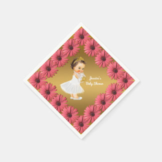 Girl Princess Baby Shower   Floral Daisies Gold Paper Napkins