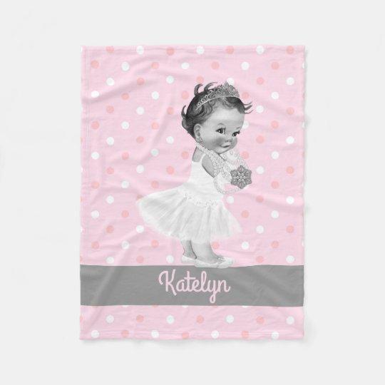 Girl Princess Nursery Personalised Pink Polka Dots Fleece