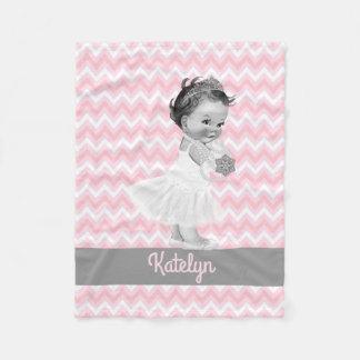Girl Princess Personalized Pink Chevrons Nursery Fleece Blanket