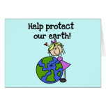 Girl Protect Our Earth T-shirts and Gifts Greeting Card