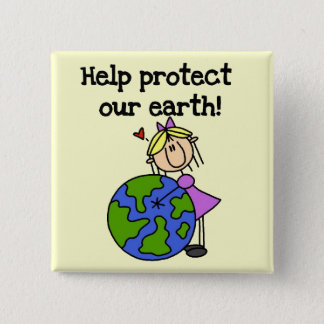 Girl Protect Our Earth Tshirts and Gifts 15 Cm Square Badge