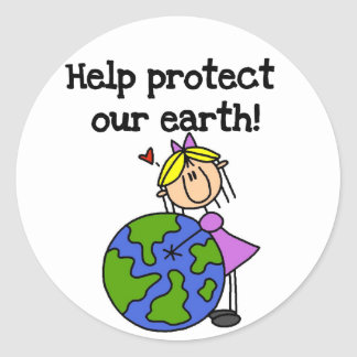 Girl Protect Our Earth Tshirts and Gifts Classic Round Sticker