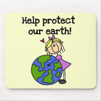 Girl Protect Our Earth Tshirts and Gifts Mouse Mat