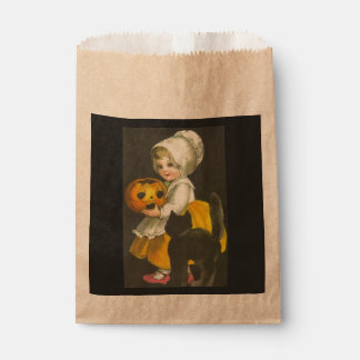 Girl Pumpkin Cat Vintage Halloween Favor Bags