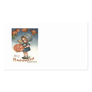 Girl Puppy Jack O Lantern Pumpkin Pack Of Standard Business Cards