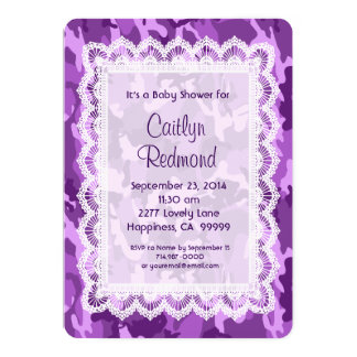 GIRL Purple Camouflage Lace Baby Shower A01B 13 Cm X 18 Cm Invitation Card