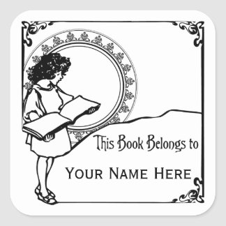 Girl Reading Art Nouveau Style Bookplate Square Sticker