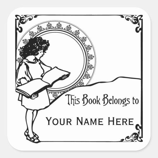 Girl Reading Art Nouveau Style Bookplate Square Sticker