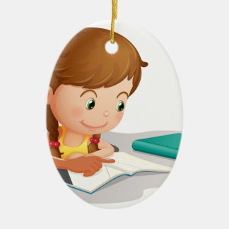 girl reading book christmas ornament