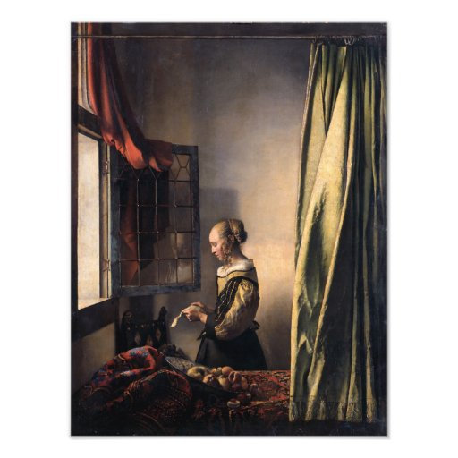 Girl Reading Letter at Open Window by Vermeer Photograph