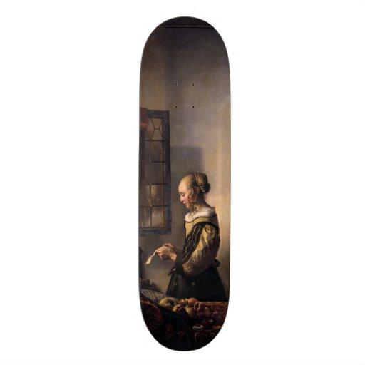 Girl Reading Letter at Open Window by Vermeer Skateboard