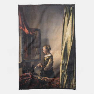 Girl Reading Letter at Open Window by Vermeer Tea Towel