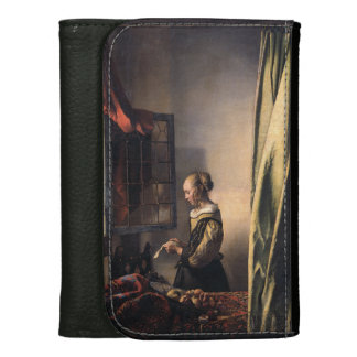 Girl Reading Letter at Open Window by Vermeer Leather Wallets