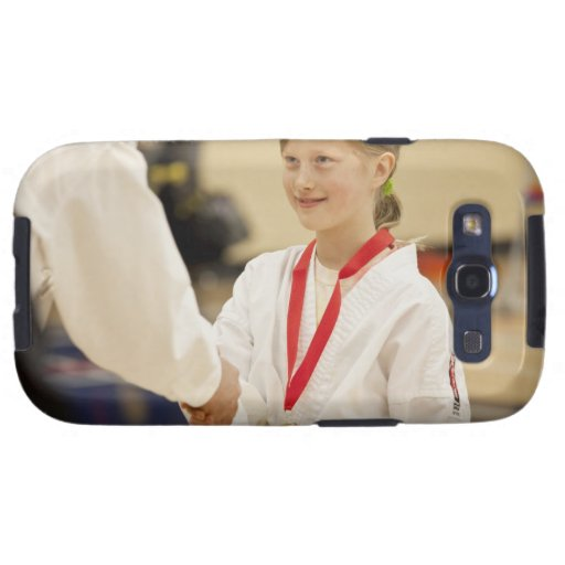 Girl receiving a medal at a Karate championship Samsung Galaxy S3 Cases