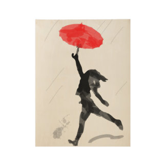 Girl Red Umbrella Wood Poster