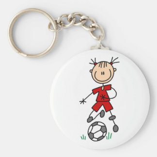 Girl Red Uniform Stick Figure Soccer Player Gifts Basic Round Button Key Ring