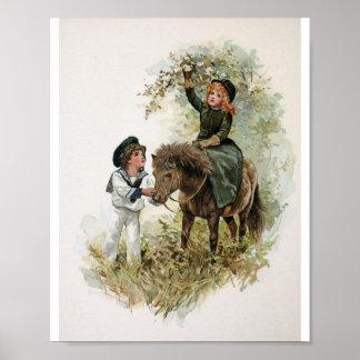 Girl Rides Shetland Pony Vintage Print