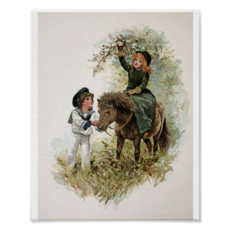 Girl Rides Shetland Pony Vintage Poster