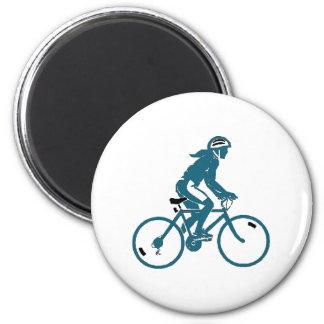 Girl Riding a Bike 6 Cm Round Magnet