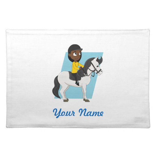 Girl riding a horse cartoon place mat