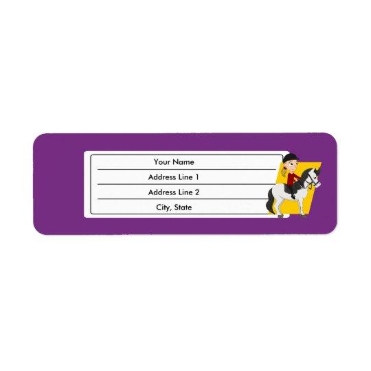 Girl riding a horse cartoon return address label