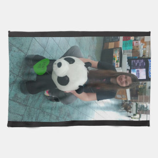 Girl riding a panda bear tea towel