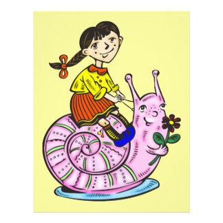 Girl Riding A Snail 2 21.5 Cm X 28 Cm Flyer