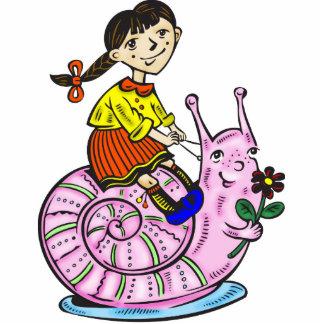 Girl Riding A Snail 2 Acrylic Cut Out