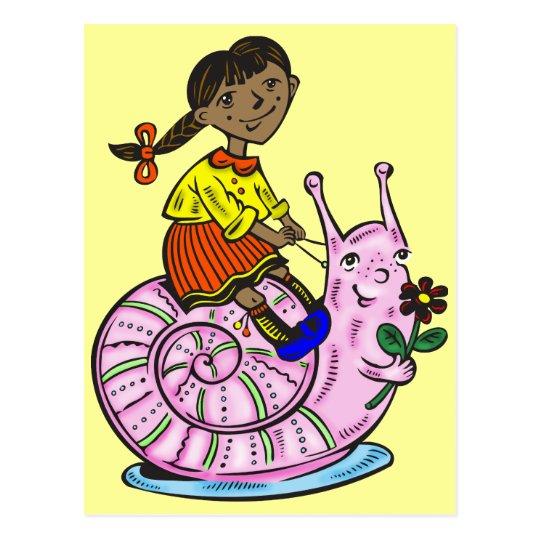 Girl Riding A Snail Postcard