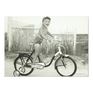Girl Riding Bicycle 13 Cm X 18 Cm Invitation Card